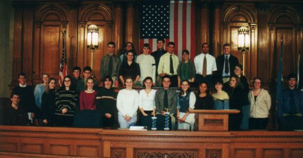All participants at the inaugural Rufus King Student Congress at Milwaukee City Hall, 2001.