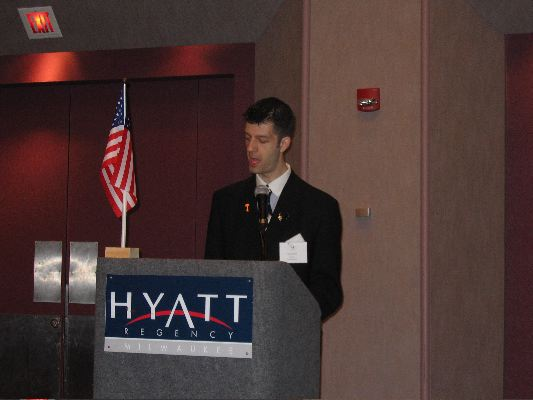 Adam Jacobi addresses the NCFL National Congress in Milwaukee (2005).