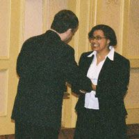 Venus receives her trophy at NCFL Nationals, 2003.